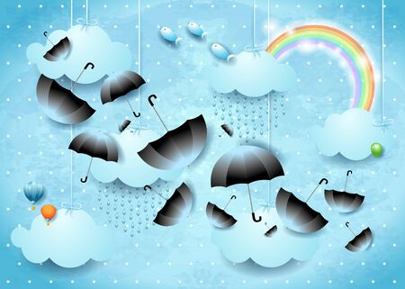 Fantastic sky with hanging clouds and flying umbrellas. Vector illustration eps10  イラスト・ベクター素材