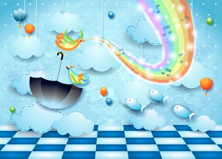 Fantastic landscape with rainbow colors, music, floor and flying umbrella. Vector illustration
