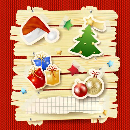 Christmas background with sign and stickers on red wool. Vector illustration eps10  イラスト・ベクター素材