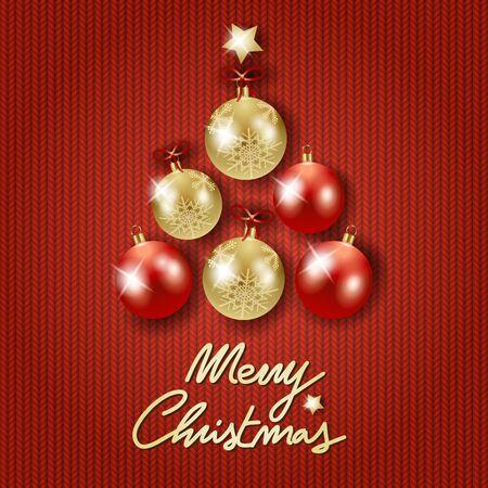 Weihnachtshintergrund mit Baum, Kugeln und Text auf roter Wolle. Vektor-Illustration