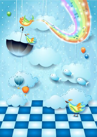 Fantastic landscape with room, rainbow colors, music and flying umbrella. Vector illustration