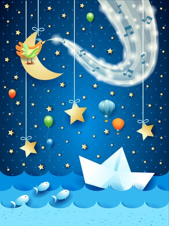 Fantastic seascape by night with paper boat, wave of sparkle and music. Vector illustration  イラスト・ベクター素材