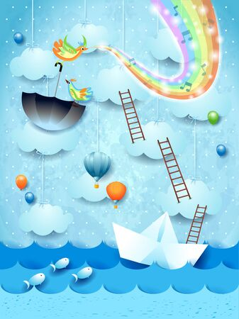 Fantastic seascape with paper boat, music and rainbow colors. Vector illustration