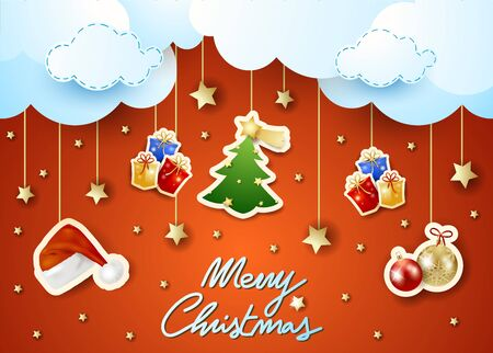 Christmas background with hanging stickers, clouds and text. Vector illustration