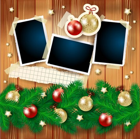 Christmas background with fir, photo frames and baubles on wood. Vector illustration  イラスト・ベクター素材