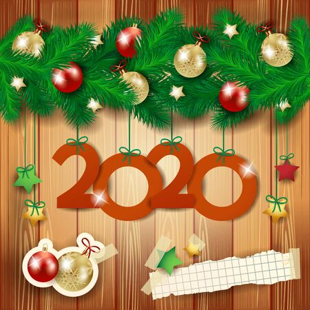 New year background with fir, stickers and red text. Vector illustration
