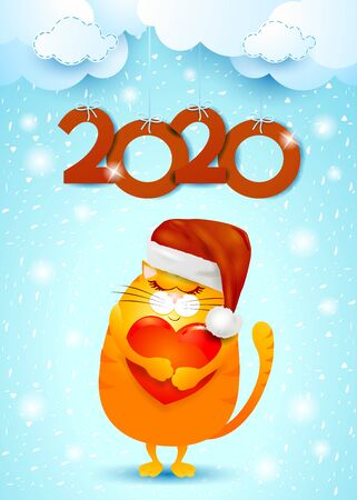 New year background with funny kitten and text. Vector illustration
