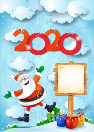 New year background with sign, funny Santa and text. Vector illustration