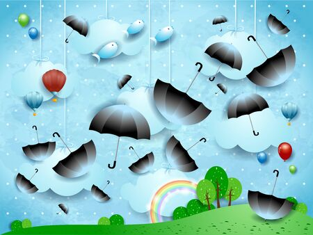 Fantasy landscape with flying umbrellas and fishes. Vector illustration eps10