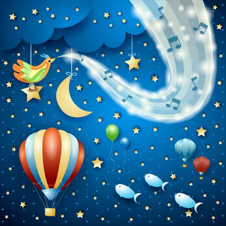 Surreal night with wave of sparkles and balloon. Vector illustration  イラスト・ベクター素材