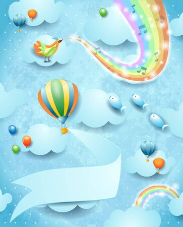 Fantastic sky by day with rainbow colors, music and balloon with banner. Vector illustration