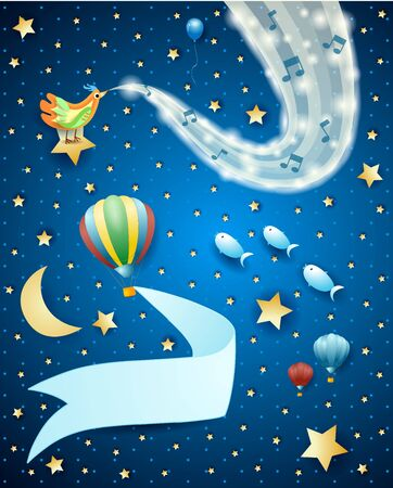 Fantastic night with wave of sparkles, music and balloon with banner. Vector illustration