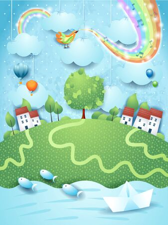 Fantastic landscape with river, bird, music and rainbow colors. Vector illustration