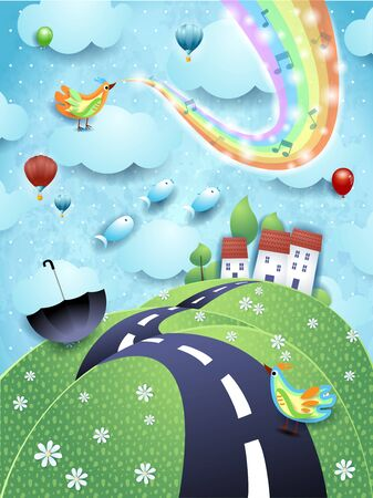 Fantastic landscape with hill, bird, music and rainbow colors. Vector illustration eps10