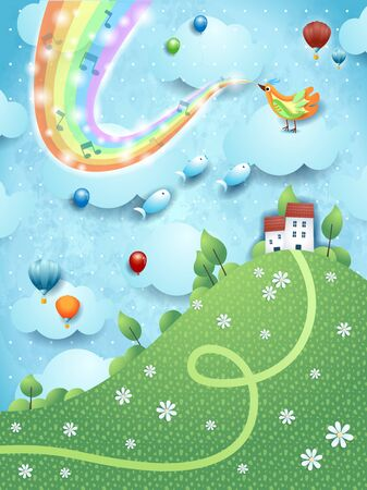 Fantastic landscape with hill, music, bird and rainbow colors. Vector illustration Ilustração