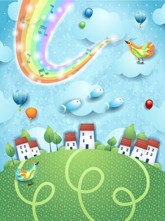 Fantastic landscape  village, bird, music and rainbow colors. Vector illustration