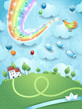 Fantastic landscape  river, bird, music and rainbow colors. Vector illustration