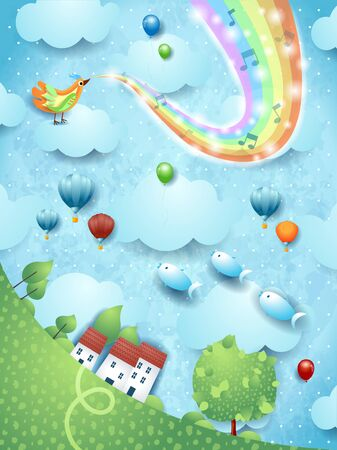 Fantastic landscape  tree, bird, music and rainbow colors. Vector illustration 写真素材 - 141641242