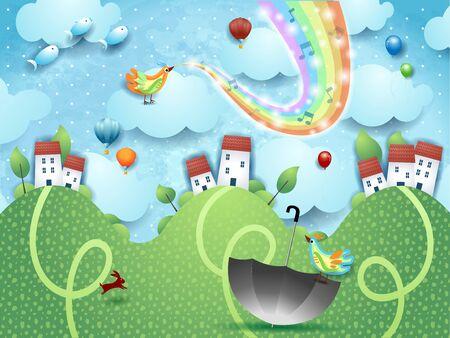 Fantastic landscape  hills, umbrella, music and rainbow colors. Vector illustration 写真素材 - 141641245
