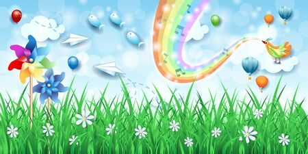 Fantastic landscape  pinwheels, bird, music and rainbow colors. Vector illustration