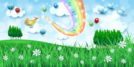 Fantastic landscape  meadows, bird, music and rainbow colors. Vector illustration