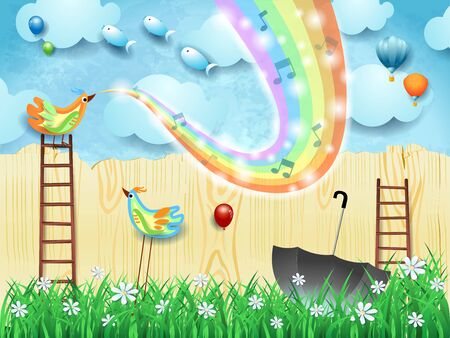Fantastic landscape  stairways, bird, music and rainbow colors. Vector illustration