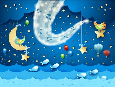 Fantastic seascape with music, birds and wave of sparkles. Vector illustration eps10