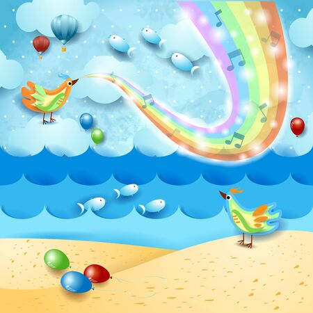 Fantastic seascape with music, birds and rainbow colors. Vector illustration eps10  イラスト・ベクター素材