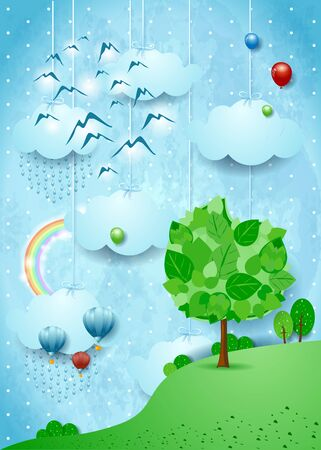 Fantastic landscape with big tree, flock of birds and rainbow. Vector illustration eps10