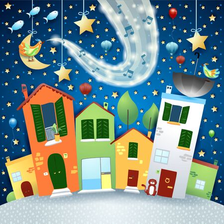 Fantastic cityscape by night with music, bird and wave of sparkles. Vector illustration eps10