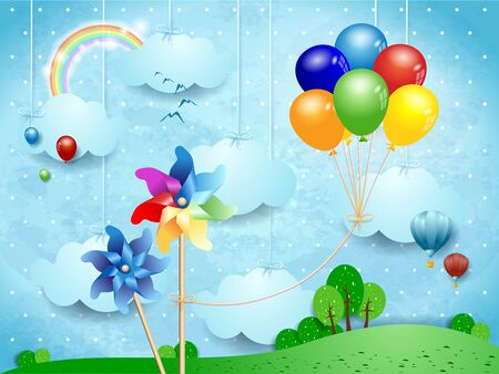 Fantastic landscape with pinwheels and hanging balloons. Vector illustration eps10