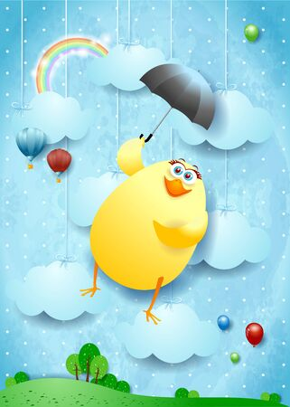 Funny flying chick with umbrella on surreal background. Vector illustration eps10