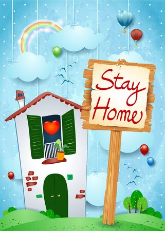 Cartoon illustration with home and sign, concept stay home. Vector illustration