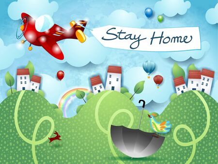 Stay home, airplane message. Concept and vector illustration eps10