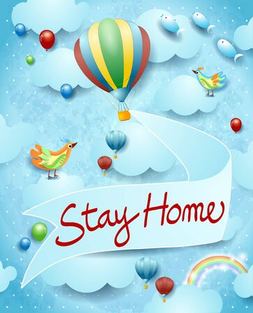 Stay home, banner message on sky background. Vector illustration eps10 写真素材 - 144597500