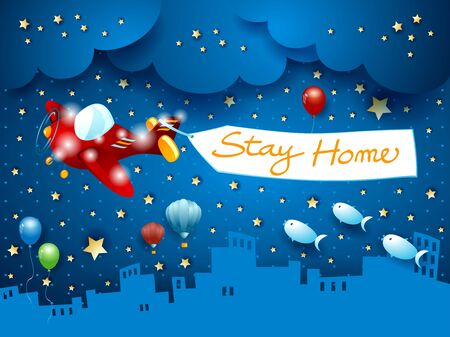 Stay home, banner message on cityscape by night. Vector illustration