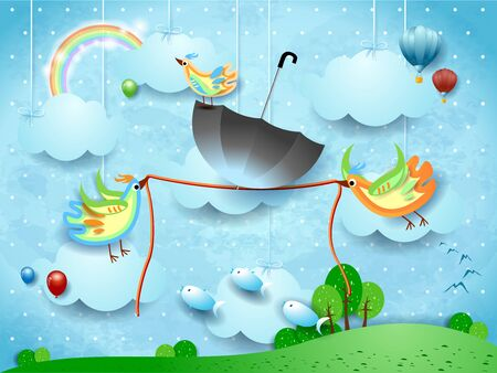 Fantasy landscape and two birds hold a rope with an umbrella in balance. Vector illustration eps10
