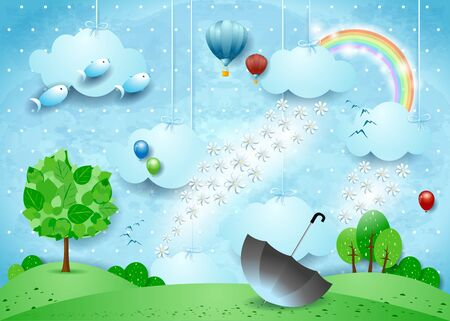 Fantastic landscape with rain of flowers and umbrella. Vector illustration eps10