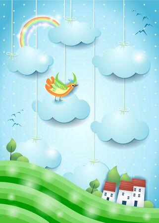 Fantasy landscape with bird and village. Paper art. Vector illustration eps10
