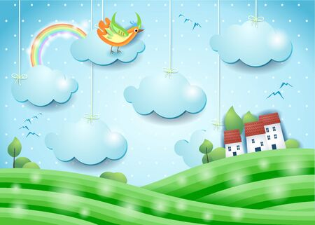 Fantasy landscape with bird and village. Paper art. Vector illustration eps10