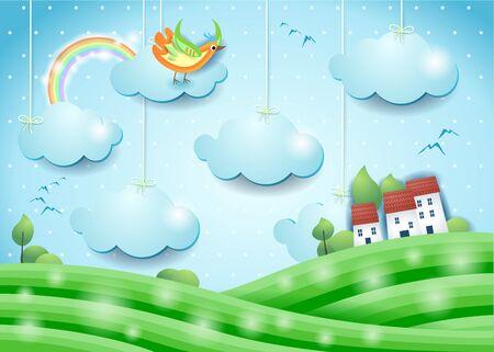 Fantasy landscape with bird and village. Paper art. Vector illustration eps10 写真素材 - 146202409