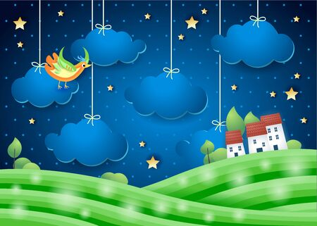 Fantasy landscape by night with bird and village. Paper art. Vector illustration eps10 写真素材 - 146410654