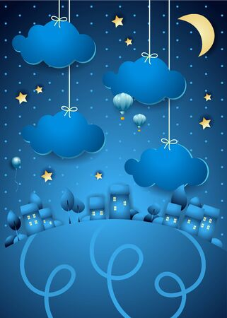 Fantasy landscape by night in blue and yellow. Vector illustration eps10