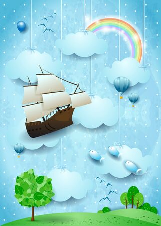 Fantasy landscape with hanging clouds, flying fishes and vessel. Vector illustration