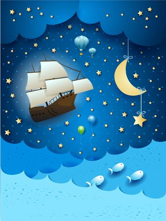 Fantastic seascape with flying ship and hanging moon. Vector illustration