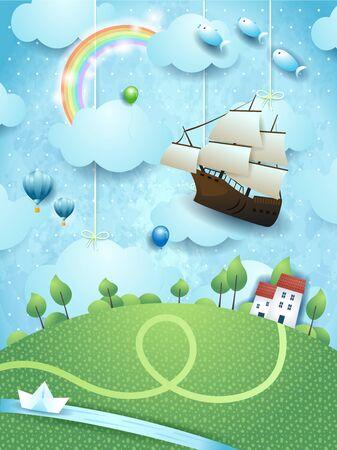Fantasy landscape with flying ship, river and paper boat. Vector illustration eps10