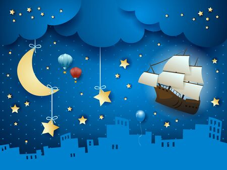 Fantasy skyline with flying ship and hanging moon. Vector illustration eps10  イラスト・ベクター素材