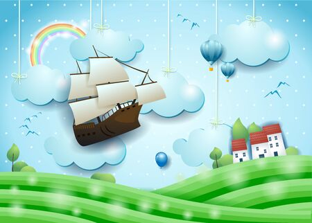 Fantastic landscape with flying vessel, meadows and village. Vector illustration