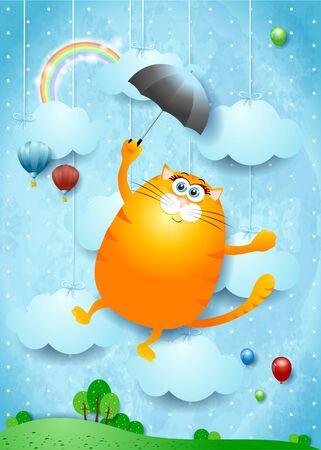 Fantasy landscape with funny flying kitten. Vector illustration Vettoriali