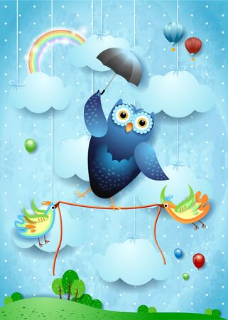 Fantasy landscape with funny owl  , umbrella and birds. Vector illustration 写真素材 - 147016352